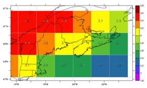 Projected Temperature Changes in the Gulf of Maine Region by the 2050s (°C.), reflecting the most recent IPCC models (Credit: Adam Fenech, UPEI Climate Lab)